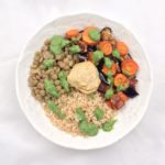 Bulgur Mediterranean Bowl with Parsley Almond Pesto