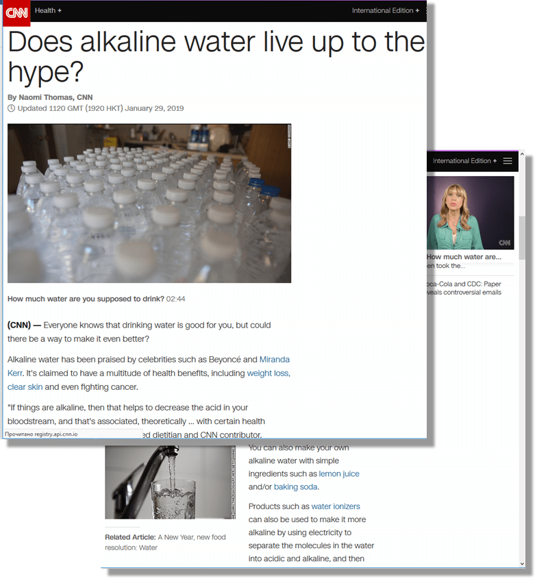CNN com: Does alkaline water live up to the hype? - Lisa