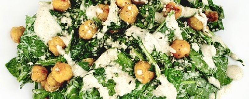 Spinach Caesar with Chickpea Croutons