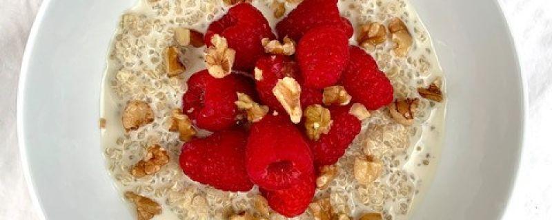 Raspberry Walnut Breakfast Quinoa