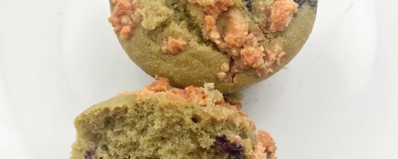 Matcha Blueberry Muffins with Walnut Crumb Topping