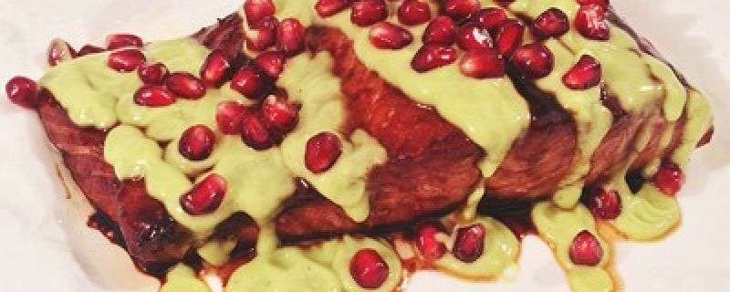 Pomegranate Lime Glazed Salmon with Avocado Crema