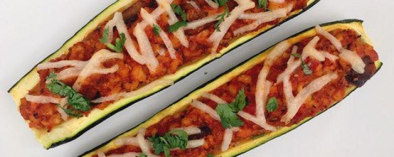 Tempeh Stuffed Zucchini