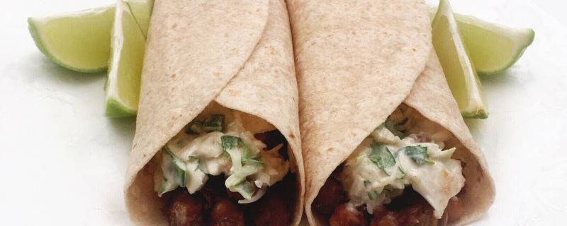 Chipotle Chickpea Tacos with Cilantro Lime Slaw