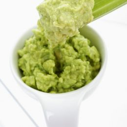 Guacamole and celery