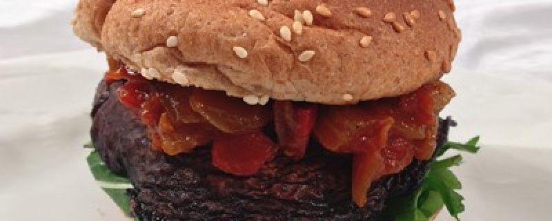 Portobello Burger with Tomato-Onion Jam
