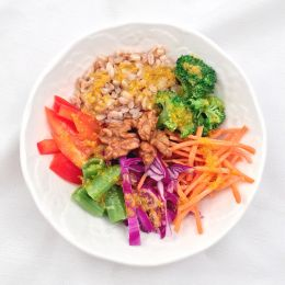 Farro Crunch Bowl with Orange Dijon Vinaigrette